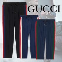 GUCCI Stripes Wool Blended Fabrics Street Style Cropped Pants