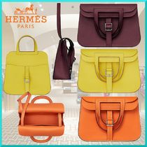 HERMES Calfskin 3WAY Plain Elegant Style Handbags