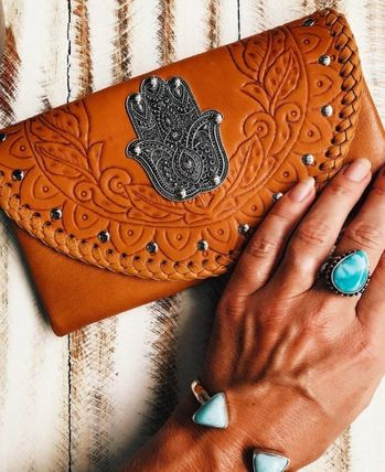 Unisex Studded Leather Handmade Long Wallets