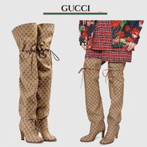 GUCCI Monoglam Plain Toe Blended Fabrics Over-the-Knee Boots