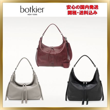 Tassel 2WAY Plain Leather Elegant Style Shoulder Bags