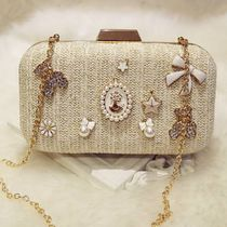 Faux Fur Studded 2WAY Chain Plain Party Style Clutches