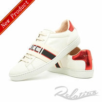 GUCCI Ace Stripes Round Toe Rubber Sole Casual Style Plain Leather