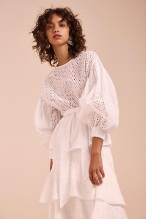 Puffed Sleeves Cotton Shirts & Blouses