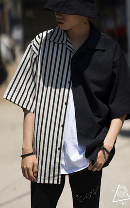 Shirts Stripes Street Style Bi-color Cotton Short Sleeves Oversized 6