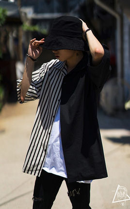 Shirts Stripes Street Style Bi-color Cotton Short Sleeves Oversized 9
