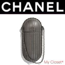 CHANEL ICON Stripes Street Style 2WAY Chain Leather With Jewels