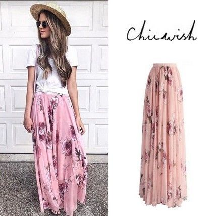 Flower Patterns Chiffon Long Elegant Style Maxi Skirts