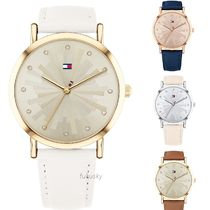 Tommy Hilfiger Leather Round Quartz Watches Analog Watches