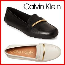 Calvin Klein Casual Style Plain Leather Loafer Pumps & Mules