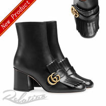 GUCCI GG Marmont Round Toe Plain Leather Block Heels Fringes Elegant Style