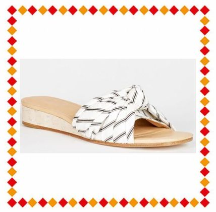 Open Toe Street Style Plain Leather Elegant Style Slippers
