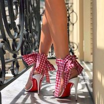 Christian Louboutin Gingham Open Toe Blended Fabrics Plain Leather Pin Heels