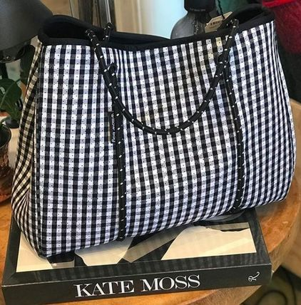 Gingham Unisex Street Style Bag in Bag A4 PVC Clothing Totes
