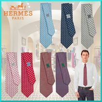 HERMES Other Plaid Patterns Silk Ties