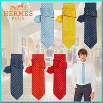 HERMES Other Check Patterns Silk Ties