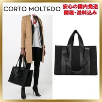 CORTO MOLTEDO Unisex Canvas Bag in Bag 2WAY Plain Elegant Style Totes