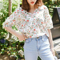 Flower Patterns Casual Style Medium Short Sleeves