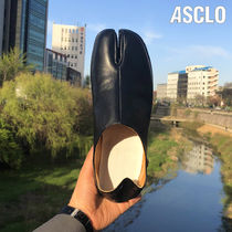 ASCLO Rubber Sole Casual Style Unisex Street Style Plain Leather