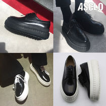 ASCLO Plain Toe Unisex Street Style Plain Leather Oversized