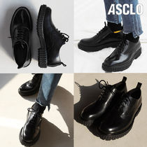 ASCLO Plain Toe Unisex Street Style Plain Leather Oxfords