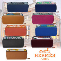 HERMES Silk In Unisex Blended Fabrics Plain Leather Long Wallets