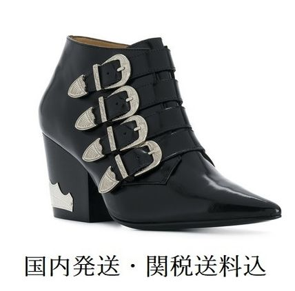 Casual Style Studded Plain Leather Chunky Heels