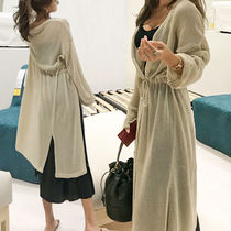 Casual Style V-Neck Long Sleeves Plain Long Midi Gowns