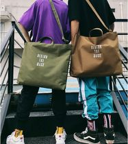 Camouflage Nylon Street Style A4 2WAY Plain Oversized Totes