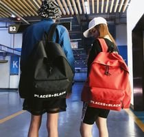 Unisex Nylon Street Style A4 Plain Oversized Backpacks
