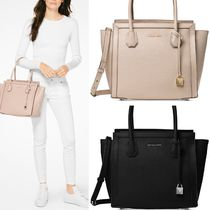 Michael Kors MERCER A4 2WAY Plain Leather Office Style Totes