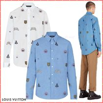 Louis Vuitton Button-down Blended Fabrics Street Style Bi-color