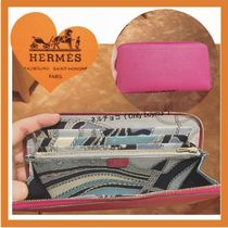 HERMES Silk In Calfskin Blended Fabrics Plain Long Wallets