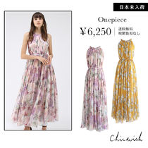 Chicwish Flower Patterns Chiffon Sleeveless Long Dresses