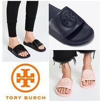 Tory Burch Open Toe Rubber Sole Casual Style Unisex Plain Leather