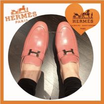 HERMES CONSTANCE Plain Leather Block Heels Elegant Style Loafer Pumps & Mules