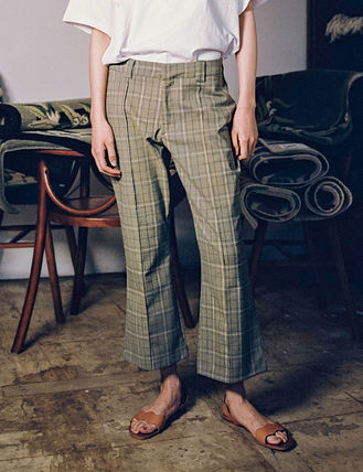 Other Check Patterns Casual Style Street Style Long Khaki