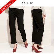 CELINE Plain Cotton Long Elegant Style Cropped & Capris Pants