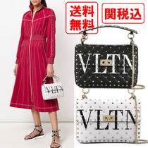 VALENTINO Casual Style Studded Street Style Chain Leather Crossbody
