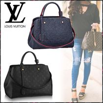 Louis Vuitton MONTAIGNE Monogram Blended Fabrics 3WAY Bi-color Leather Elegant Style