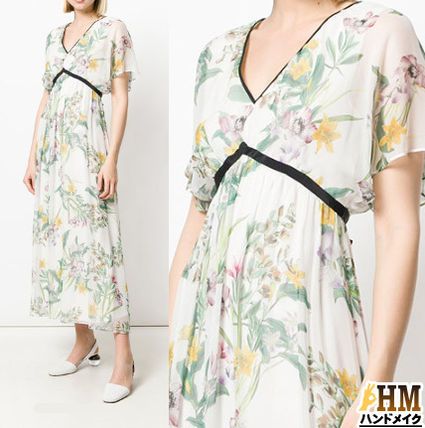 Wrap Dresses Flower Patterns Silk V-Neck Long Oversized