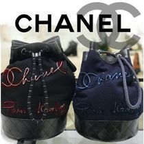 CHANEL Stripes Casual Style Calfskin Blended Fabrics 2WAY Chain