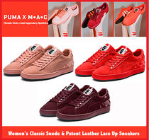 PUMA SUEDE Plain Toe Rubber Sole Lace-up Casual Style Suede