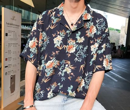 Shirts Flower Patterns Tropical Patterns Short Sleeves Oversized 4