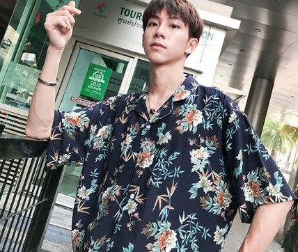Shirts Flower Patterns Tropical Patterns Short Sleeves Oversized 9