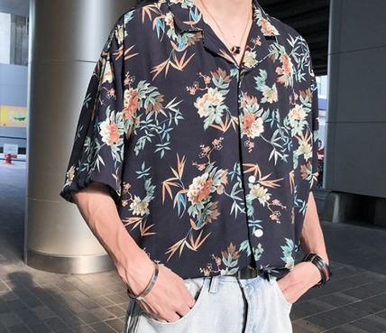 Shirts Flower Patterns Tropical Patterns Short Sleeves Oversized 11
