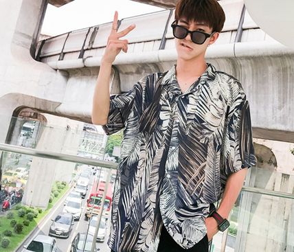 Shirts Flower Patterns Tropical Patterns Short Sleeves Oversized 13