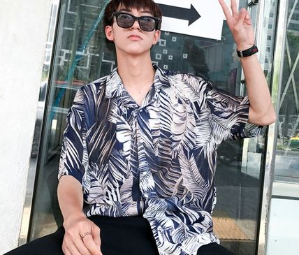 Shirts Flower Patterns Tropical Patterns Short Sleeves Oversized 17