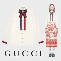 GUCCI Long Sleeves Elegant Style Shirts & Blouses