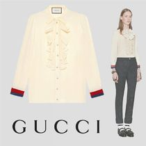 GUCCI Silk Long Sleeves Elegant Style Shirts & Blouses